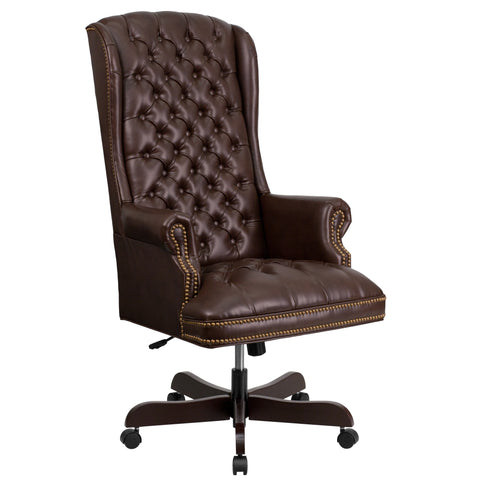 LeatherSoft High Back Traditional Fully Tufted Brown Executive Swivel Office Chair (CI-360-BRN-GG)