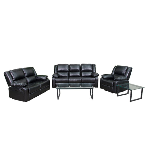 Harmony Series Black Leather Reclining Sofa Theater Set (BT-70597-RLS-SET-GG)