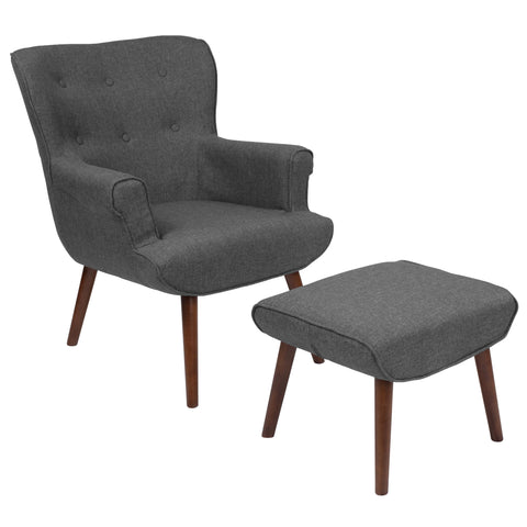 Bayton Series Dark Gray Wingback Chair with Ottoman (QY-B39-CO-DGY-GG)