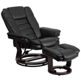 LeatherSoft Contemporary Multi-Position Recliner with Horizontal Stitching and Ottoman with Swivel Mahogany Wood Base in Black (BT-7818-BK-GG)