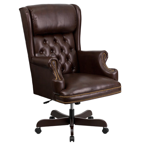 LeatherSoft Traditional Tufted Brown Executive Office Chair (CI-J600-BRN-GG)