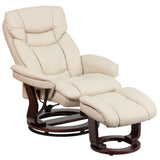 LeatherSoft Beige Swivel Recliner Chair with Ottoman Footrest (BT-7821-BGE-GG)