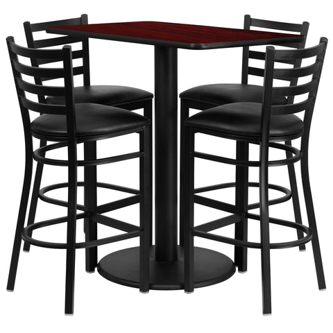 24'' x 42'' Rectangular Mahogany Laminate Table Set with 4 Ladder Metal Barstools (RSRB1018-GG)