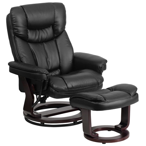 LeatherSoft Contemporary Multi-Position Recliner and Curved Ottoman with Swivel Mahogany Wood Base in Black (BT-7821-BK-GG)