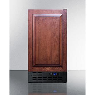 "Summit Appliance 18"" Wide 8 lb. Dark Wood Finish Drain-Free Icemaker (BIM18IFADA)"