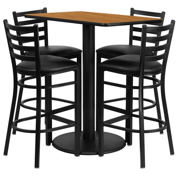 24'' x 42'' Rectangular Natural Laminate Table Set with 4 Metal Barstools (RSRB1019-GG)