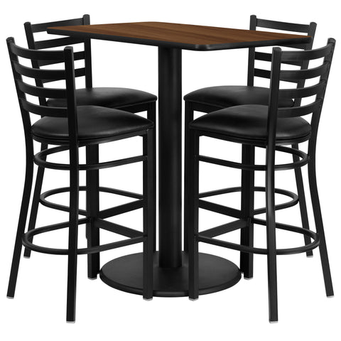 24'' x 42'' Rectangular Walnut Laminate Table Set with 4 Ladder Metal Barstools (RSRB1020-GG)