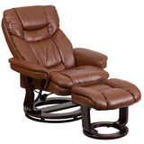 LeatherSoft Contemporary Multi-Position Recliner and Curved Ottoman with Swivel Mahogany Wood Base in Brown Vintage (BT-7821-VIN-GG)
