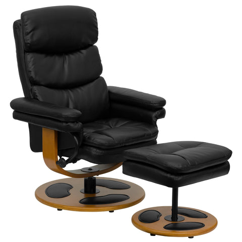 LeatherSoft Contemporary Multi-Position Recliner and Curved Ottoman with Swivel Mahogany Wood Base in Black Vintage (BT-7828-PILLOW-GG)