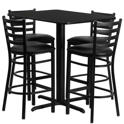 24''W x 42''L Rectangular Black Laminate Table Set with 4 Ladder Metal Barstools (HDBF1017-GG)