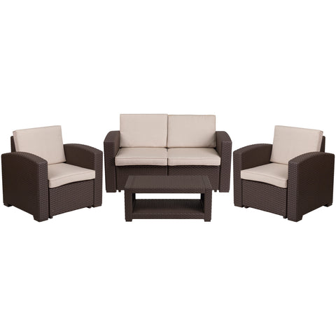 Faux Rattan 4 Piece Chocolate Brown Chair, Loveseat, Sofa and Table Set (DAD-SF-112T-CBN-GG)