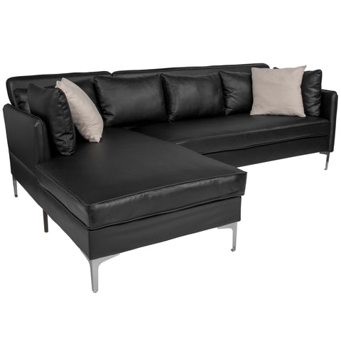 Back Bay Upholstered Accent Pillow Back Sectional with Left Side Facing Chaise in Black LeatherSoft (BT-8377-SET-BK-GG)