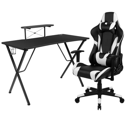 Black Gaming Desk and Black Reclining Gaming Chair Set with Cup Holder, Headphone Hook, and Monitor/Smartphone Stand (BLN-X20RSG1031-BK-GG)