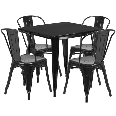 "Commercial Grade 31.5"" Square Black Metal Indoor-Outdoor Table Set with 4 Stack Chairs (ET-CT002-4-30-BK-GG)"