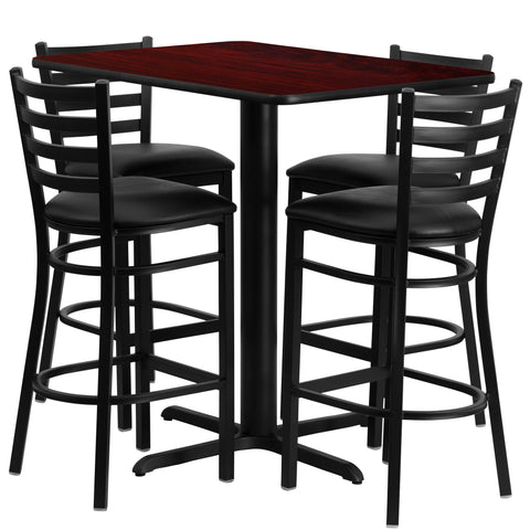 24''W x 42''L Rectangular Mahogany Laminate Table Set with 4 Ladder Metal Barstools (HDBF1018-GG)