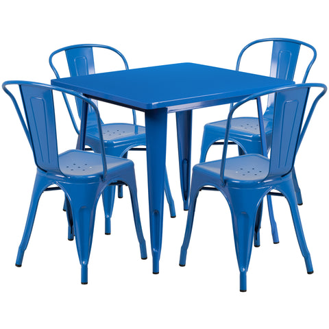 "Commercial Grade 31.5"" Square Blue Metal Indoor-Outdoor Table Set with 4 Stack Chairs (ET-CT002-4-30-BL-GG)"