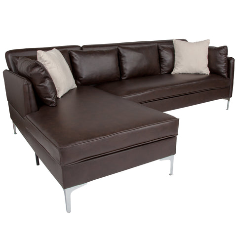 Back Bay Upholstered Accent Pillow Back Sectional with Left Side Facing Chaise in Brown LeatherSoft (BT-8377-SET-BRN-GG)