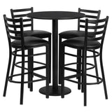 30'' Round Black Laminate Table Set with Round Base and 4 Ladder Metal Barstools (RSRB1021-GG)