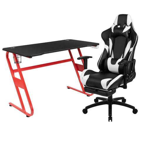 Red Gaming Desk and Black Footrest Reclining Gaming Chair Set with Cup Holder and Headphone Hook (ALA-CMOY-451409)