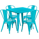 "Commercial Grade 31.5"" Square Crystal Teal Metal Indoor-Outdoor Table Set with 4 Stack Chairs (ET-CT002-4-30-CB-GG)"