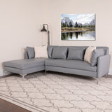 Back Bay Upholstered Accent Pillow Back Sectional with Left Side Facing Chaise in Gray LeatherSoft (BT-8377-SET-GY-GG)