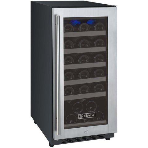 "Allavino 15"" Wide FlexCount II Tru-Vino 30 Bottle Single Zone Stainless Steel Right Hinge Wine Refrigerator (VSWR30-1SR20)"