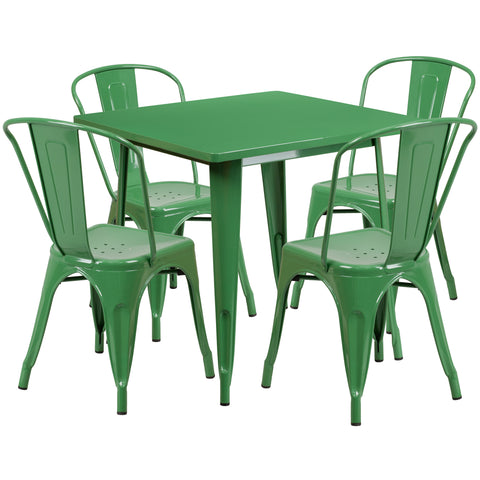 "Commercial Grade 31.5"" Square Green Metal Indoor-Outdoor Table Set with 4 Stack Chairs (ET-CT002-4-30-GN-GG)"