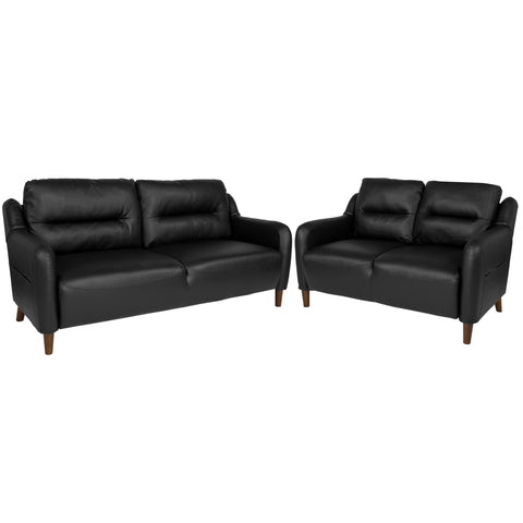 Newton Hill Upholstered Bustle Back Loveseat and Sofa Set in Black LeatherSoft (BT-S8372A-SFLS-BK-GG)