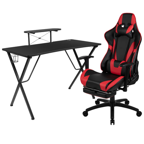 Black Gaming Desk and Red/Black Footrest Reclining Gaming Chair Set with Cup Holder, Headphone Hook, & Monitor/Smartphone Stand (BLN-X30RSG1031-RD-GG)