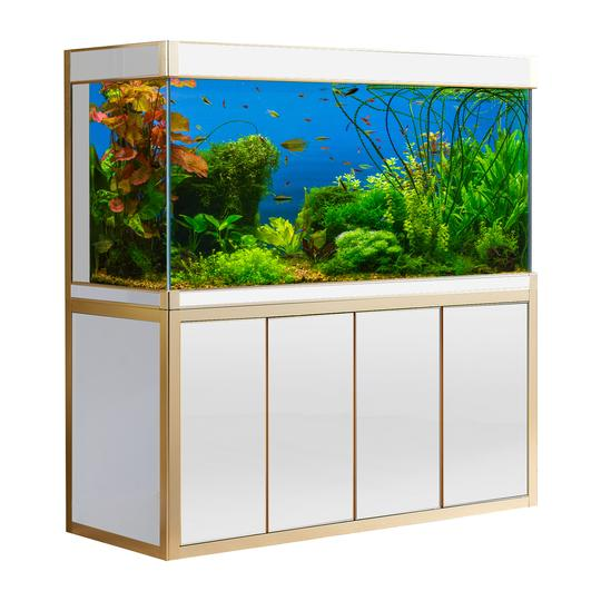 Aquadream White & Gold Finish 220 Gallon Aquarium Fish Tank (AD-1760-WT)
