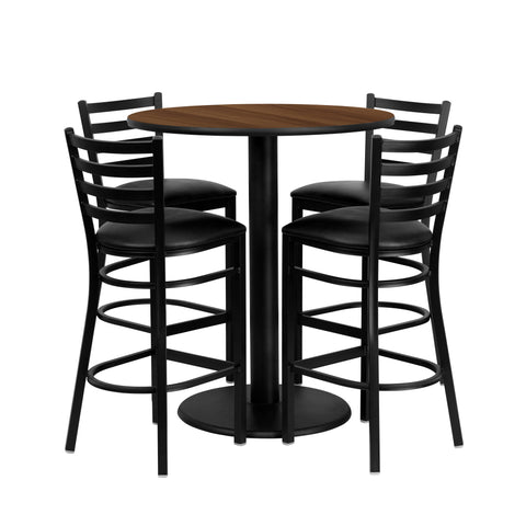 36'' Round Walnut Laminate Table Set with 4 Ladder Back Metal Barstools (MD-0011-GG)