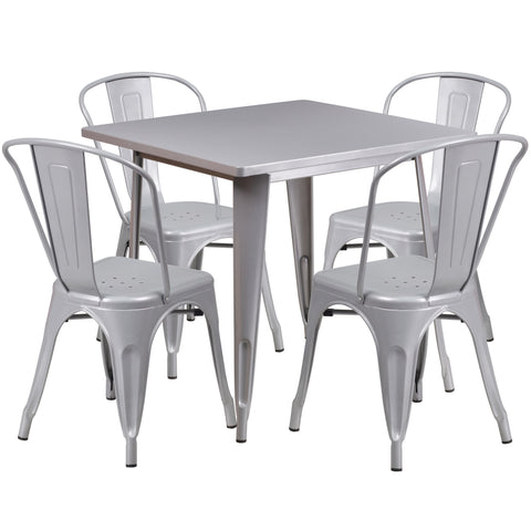"Commercial Grade 31.5"" Square Silver Metal Indoor-Outdoor Table Set with 4 Stack Chairs (ET-CT002-4-30-SIL-GG)"