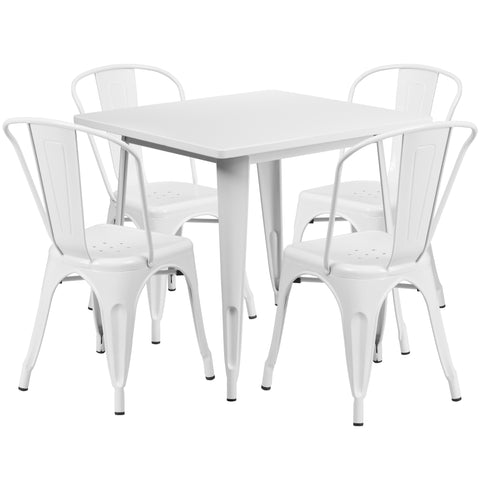 "Commercial Grade 31.5"" Square White Metal Indoor-Outdoor Table Set with 4 Stack Chairs (ET-CT002-4-30-WH-GG)"