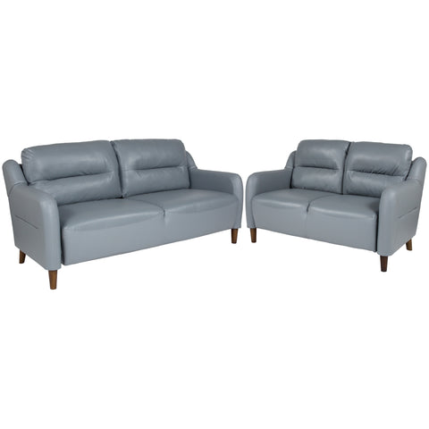 Newton Hill Upholstered Bustle Back Loveseat and Sofa Set in Gray LeatherSoft (BT-S8372A-SFLS-GRY-GG)