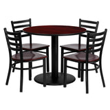 36'' Round Mahogany Laminate Table Set with 4 Ladder Back Metal Chairs (MD-0004-GG)