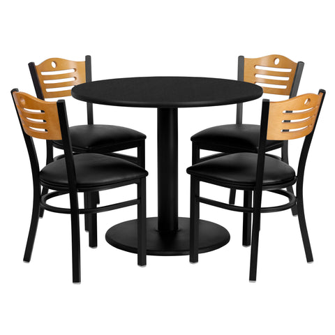 36'' Round Black Laminate Table Set with 4 Wood Slat Back Metal Chairs (MD-0009-GG)