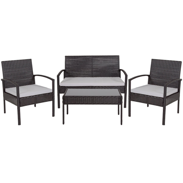 Aransas Series 4 Piece Black Patio Set with Steel Frame and Gray Cushions (JJ-S312-GG)