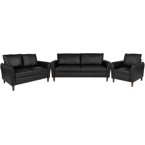 Milton Park Upholstered Plush Pillow Back Chair, Loveseat and Sofa Set in Black LeatherSoft (BT-S8373-SET-BK-GG)