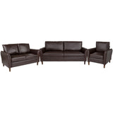 Milton Park Upholstered Plush Pillow Back Chair, Loveseat and Sofa Set in Brown LeatherSoft (BT-S8373-SET-BRN-GG)
