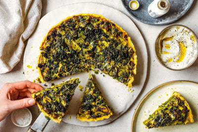 Kuku sabzi tart with olive oil pastry