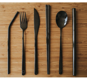 Full Black Travel Cutlery Set - Chonnyday