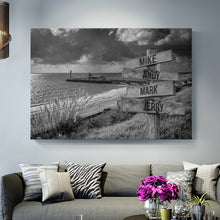 Load image into Gallery viewer, Beach with Storm Clouds Multi-Names Premium Canvas