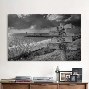 Beach with Storm Clouds Multi-Names Premium Canvas
