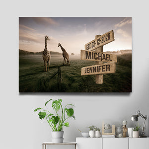 Giraffe Multi-Names Premium Canvas