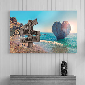 Beach Heart Couple-Names Premium Canvas