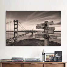 Load image into Gallery viewer, Golden Bridge Premium Multi-Names Canvas