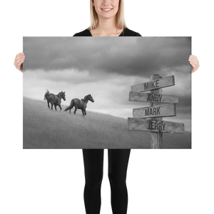 Horses Multi-Names Premium Canvas