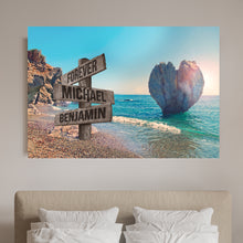 Load image into Gallery viewer, Beach Heart Couple-Names Premium Canvas