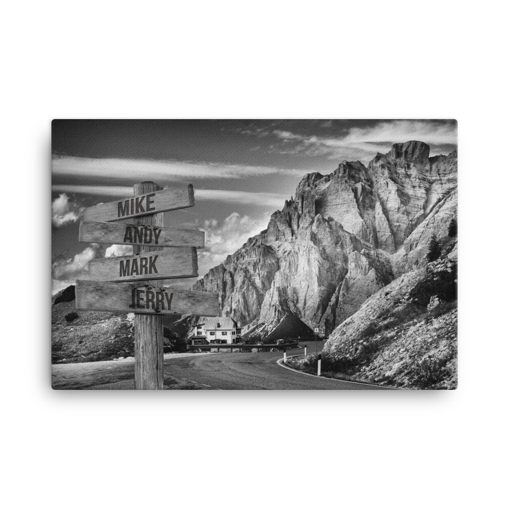 Mountain Ranges Multi-Names Premium Canvas