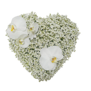 Gypsophila and Phalaenopsis Closed Heart Wreath